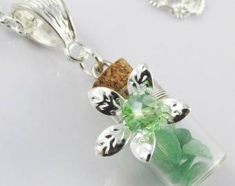Gemstone Chip Wishing Bottle Charm Necklace 45cm Select from 5 Gemstones