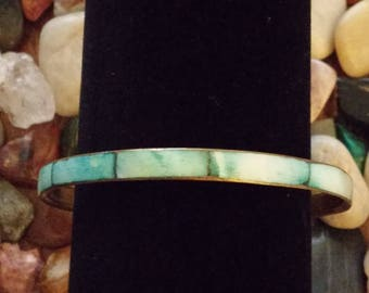 Brass Bangle with Shell Inlay