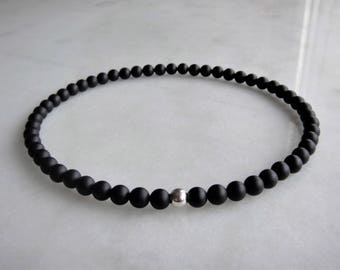 Mens necklace / womens necklace made of sterling silver and matt onyx beads - silver onyx choker - mens beaded necklace - mens choker