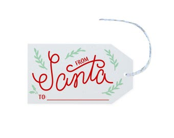 From Santa - 10 Letterpress Printed Gift Tags