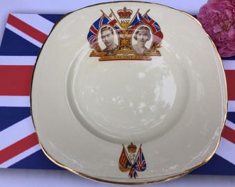 Coronation side plate, King George VI & Queen Elizabeth, Royal Family, British memorabilia, souvenir ware, collectible