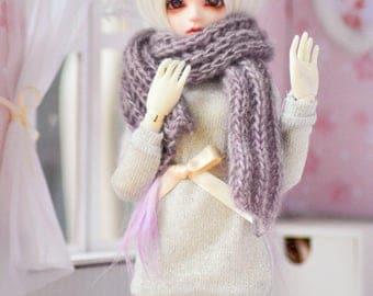 Minifee/Bjd/MSD/Doll hand knitted purple scarf