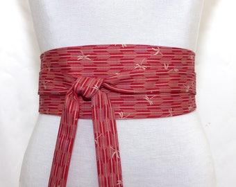 Original Japanese Fabric, Red reversible Obi Belt, Wide wrap belt, Waist belt kimono sash