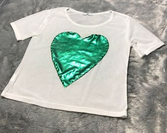 Transparent ,sheer short sleeve white t shirt for women with hand stitched heart ONE SIZE S/M