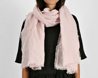 linen scarf women/Pale Rose Linen Wrap Scarf, Pale Rose Linen Shawl, Dusty Rose Shawl, Linen Shawl With Fringes/Lightweight Flax Scarf