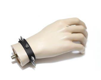 Artisan Handmade Accessory | Black Vegan Friendly Silver Spike Studded Slim Strap Bracelet