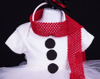 Snowman tutu, Christmas tutu set, Holiday outfit, toddler tutu set, Frosty Snowman hat, musical