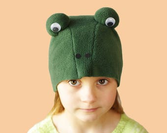 Kids costume, frog costume hat, animal costume hat, kids dress up hat, toddler pretend play, toddler costume, kids Halloween costume