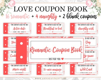 Love Coupon Book, Love Coupons For Him, Printable Coupon Book, Anniversary Gifts, Gift for Him, Gift for Her, Boyfriend Gift, Birthday gifts