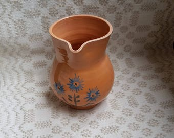 Vintage brown ceramic jug / pitcher / jar / blackjack decorated whit blue flowers in condition