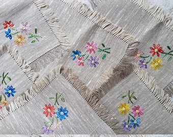 Vintage set of six little grey square linen embroidered  handmade with silk serviettes / table-napkins / doilies, home decoration