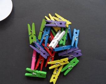 Mini tongs bois(les 10) bright colors + 15 labels round
