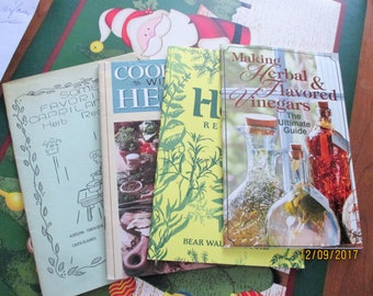 A lot of 4 vtg. booklets on Herbs,making herbal and flavored vinegars,herb recipes,cooking with herbs-