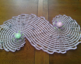 Hand-made crochet table runner