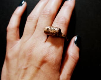 Electroformed Copper Wild Raw Nugget Bullion Ring, Unique Artisan Ring