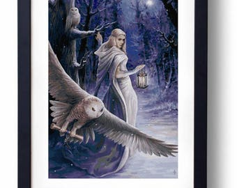 Midnight Messenger - owl winter christmas (Cross stitch embroidery pattern pdf)
