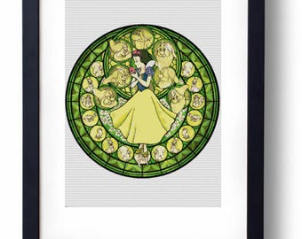 Snow White Stained Glass - Disney seven dwarves 7 dwarves (Cross stitch embroidery pattern pdf)