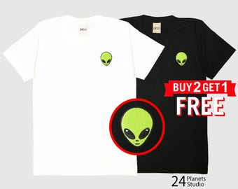 Alien Head Embroidered T-Shirt by 24PlanetsStudio