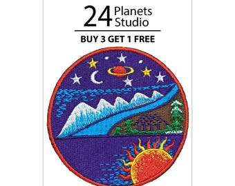 Natural and Space Iron on Patch by 24PlanetsStudio