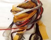 Art Fiber Bundle - Leaves of Autumn, Weaving, Spinning, Natural