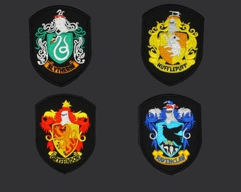 Set of 4pcs Harry Potter Hogwarts School House Badge Embroidered Applique Patch. Iron On or Sew On Badge 5.8 x 7.87CM