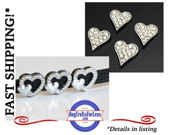2 STYLES Rhinestone HEART for 8mm Slide Bracelets, Collars, Key Rings +FREE Shipping & Discounts*