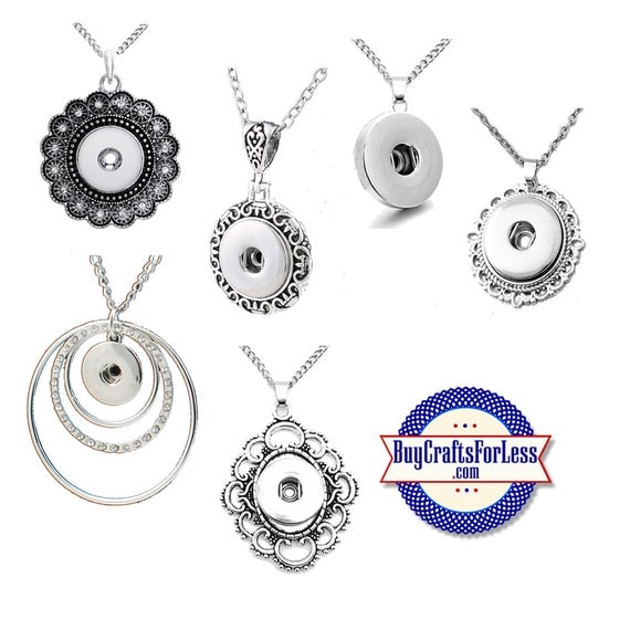 SNAP Button NECKLACES, for Changeable SNaP Buttons, 6 DESIGNs +FREE Shipping & Discounts