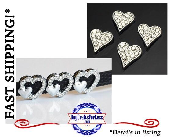 2 STYLES Rhinestone HEART for 8mm Slide Bracelets, Collars, Key Rings +FREE Shipping & Discounts*