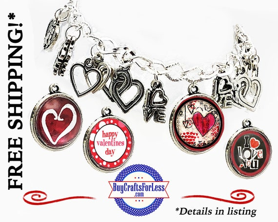 Heart CHARM BRACELET, GiFT BoX, 4 Designs, 19 charms, Silver Alloy- Best Seller +FREE SHiPPiNG & Discounts*