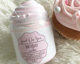 Birthday Cake Sugar Whipped Soap, Sugar Whipped Soap, Whipped Soap, Body Polish, Sugar Scrub, Bath and Body, Emulsified Scrub, Soap