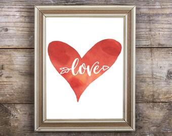 Valentines Day Print - Love Red Heart Printable Saint Valentine's Digital Watercolor Print