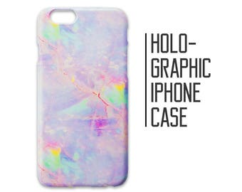 Pink Holographic Phone Case for iPhone 7 Plus 6 6s 5 5s 5c SE + Samsung S6 S7 Crystal Iridescent Marble