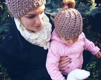 Mum and daughter matching messy bun hat