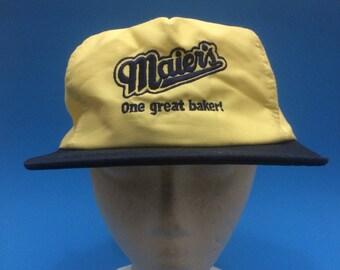 Vintage Maiers Bread trucker snapback hat italian 1980s adjustable strap back
