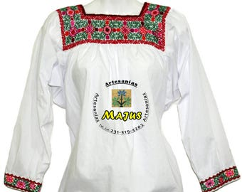 Cotton blouse Embroidered handmade handcrafted