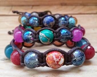 Women's bracelet, unisex bracelet, Shamballa bracelet, healing stones, macrame jewelry, stackable bracelets, macrame bracelet, energy jewels