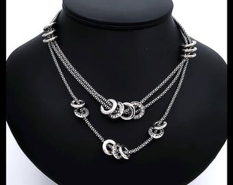 Three strands of Oxidized silver snake chains collar necklace with rings in between and Tiny Clear Swarovski  Crystals