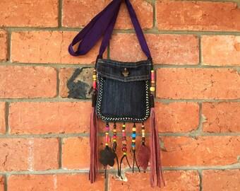 Bohemian sling bag / tribal medicine bag /Hobo biker bag / gypsy festival bag / Bohemian shoulder bag / hobo sling bag /tribal hip bag