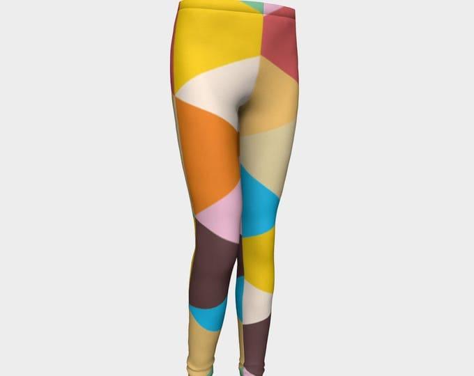 Girls Leggings, Multicolored Pennant Leggings, Girls Yoga Leggings, Leggings, Girls Clothes, Back to School Leggings, Girls Yoga Pants