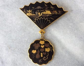 Beautiful little  Japanese Damascene brooch Vintage 40this