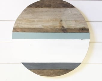 18in // monogrammed round // reclaimed wood