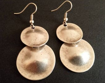 Ethnic Earrings | Antique Silver Plated Zamak Earrings | Tribal Earrings | Pendientes | Boho Earrings | Large Round Earrings