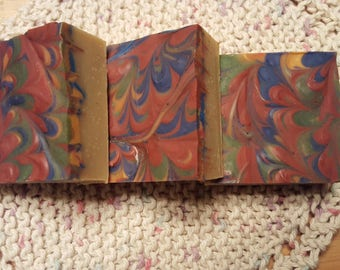 Cranberry Amber Peacock Swirl Soap