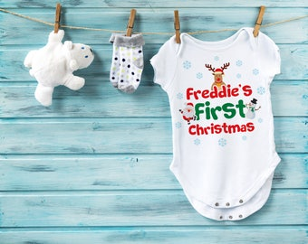 Personalised Name First Christmas Baby grow - Christmas Baby Vest, Christmas bodysuit, infant clothing, baby gift, Xmas, baby clothing,