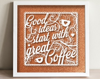 Coffee Quote - Hand painted white acrylic on glass frame mounted in front of glitter background - house warming gift, decoration, coffee