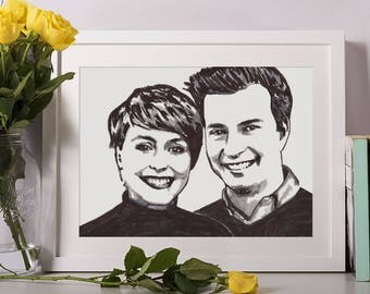 Framed - Custom Portrait - 2 People - Hand drawn from photo, Hand Drawn Portraits , Custom Pen Drawing, Drawing with Pen, Pen Drawing