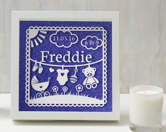 Personalised Baby Frame - Hand painted white acrylic on glass frame mounted in front of glitter background -baby gift, new baby, new mum