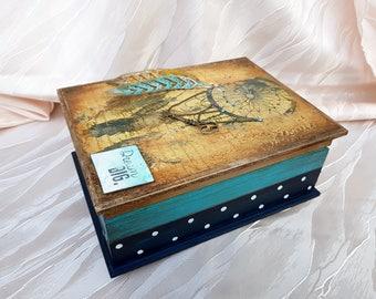 dreamcatcher Decoupage Box Jewelry wooden Box Wedding Wishes Box Vintage Box Storage  box jewellery wooden box keepsakebox rustic box