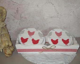 """6 coasters with tray cottage chic """"small chicks"""""""