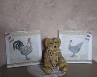 "Set of two decorative spirit retro country chic ""yard"""
